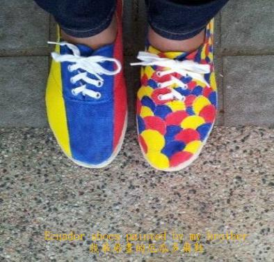 Ecuador shoes painted by my brother
