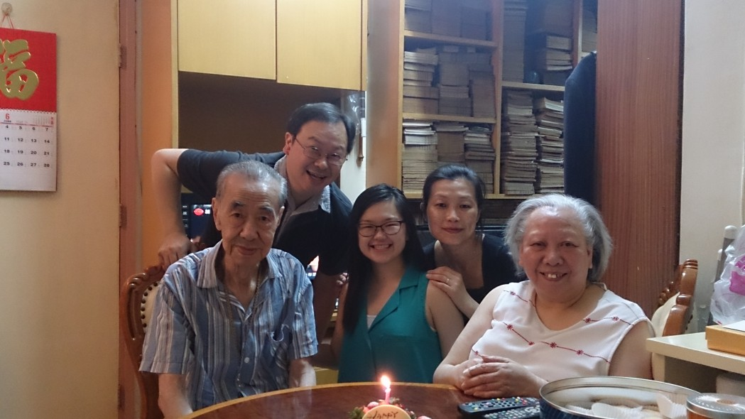 Priscilla celebrating her birthday with her grandparents