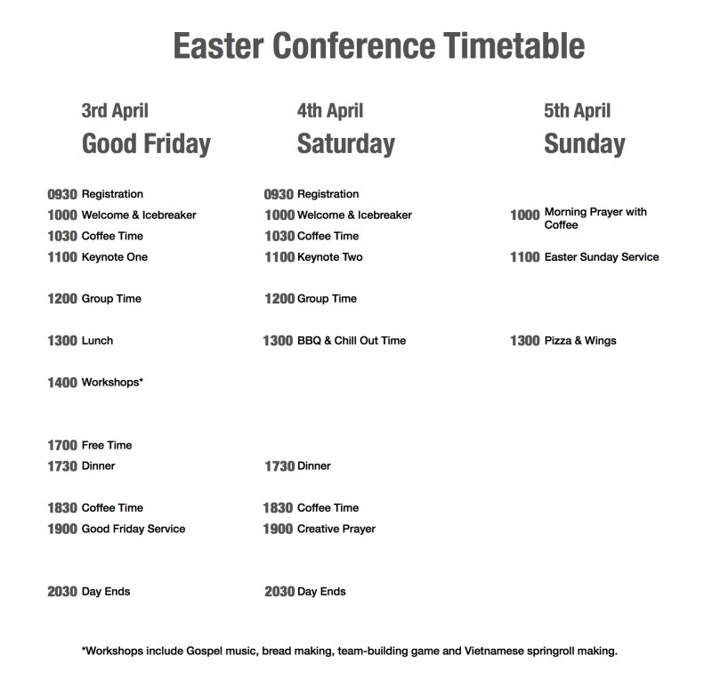 2015-03-29 English Easter Conference Timetable